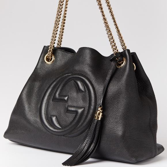 bf0011da56ee Gucci Handbags - Gucci Soho Med. Chain Strap Leather Black Handbag